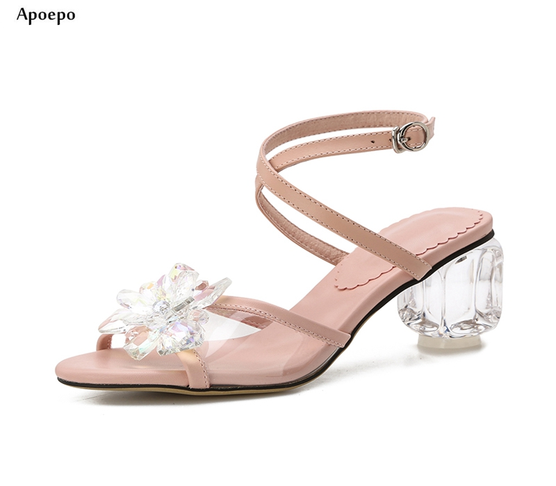 New Woman Transparent Thick Heels Sandal for Woman Sexy Open Toe Crystal Flower Embellished Gladiator Shoes High Heel Sandal new fashion big pearls beaded woman flat shoes 2017 sexy open toe sandal crystal embellished slides