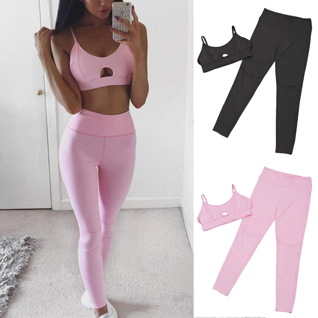 ab0eaf0312 Women s Tracksuit Pink Hollow out Sexy Yoga Sets 2018 Gym Running Sport Suit  Fitness Clothing Workout Sport Wear Sports Bra+Pant