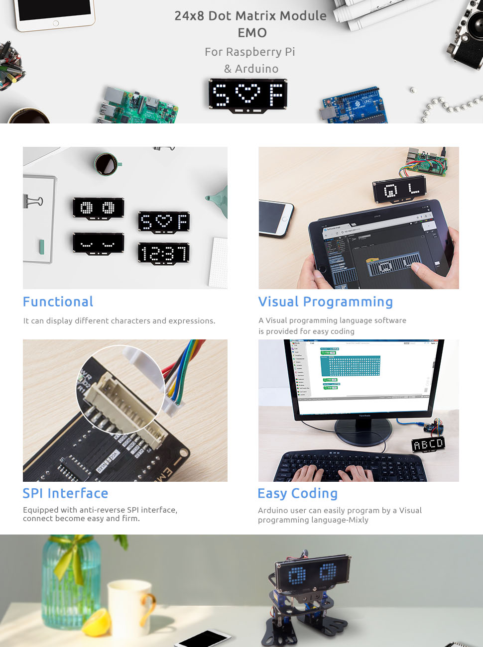 SunFounder Emo 24*8 LED Dot Matrix Display Module MCU Control DIY Kit for  Arduino and Raspberry Pi