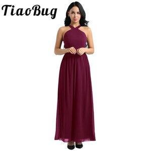 Image 1 - Tiaobug femmes dames croisé bretelles en mousseline de soie élégante robes de demoiselle dhonneur princesse bal fête Maxi longue robe de mariée