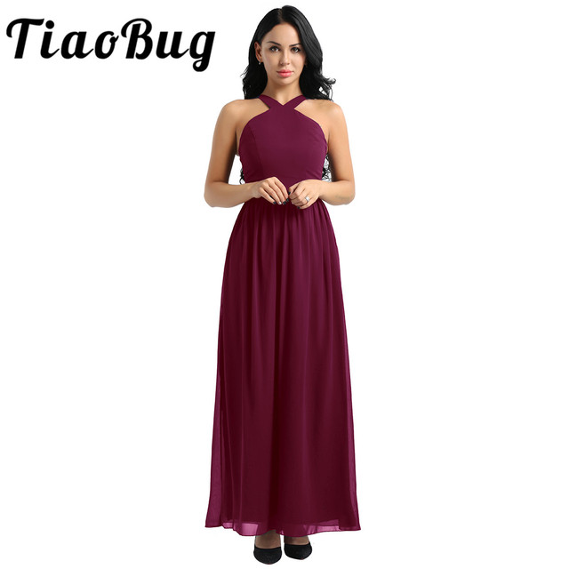 Tiaobug femmes dames croisé bretelles en mousseline de soie élégante robes de demoiselle dhonneur princesse bal fête Maxi longue robe de mariée