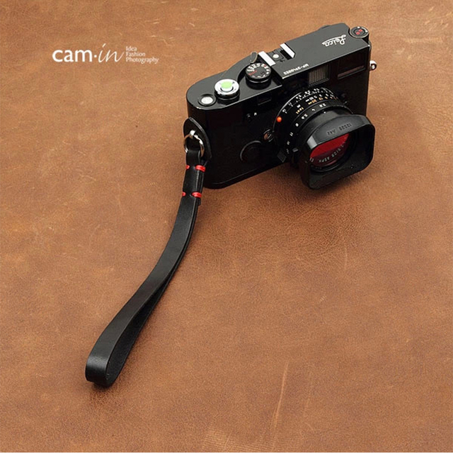 Cam in 3011 3017 Cowskin Camera Wrist Strap Cowhide Leather DSLR Spire Lamella Hand Belt Photography Accessory 7 Colors