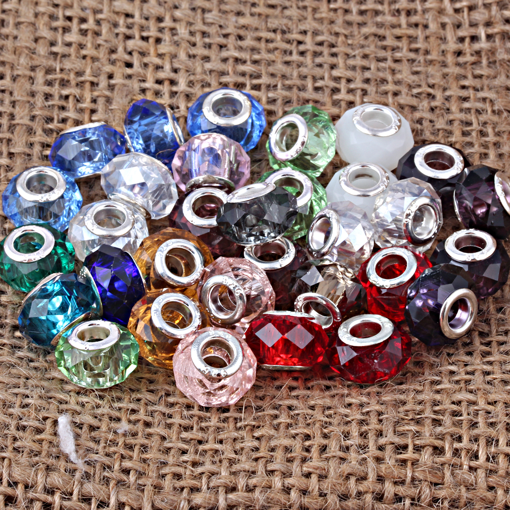 Free Shipping Mixed Color Big Hole Murano Glass Loose Beads Charms Fit Pandora Charms Bracelet Findings 100pcs/lot