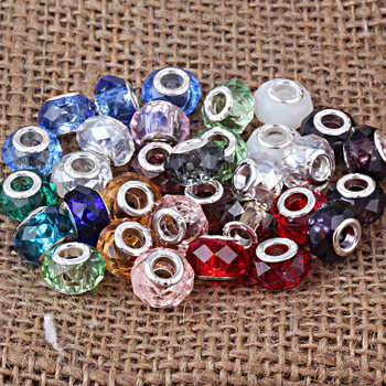 Free Shipping Mixed Color Big Hole Murano Glass Loose Beads Charms Fit Pandora Charms Bracelet Findings 100pcs/lot - DISCOUNT ITEM  24% OFF All Category