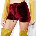 Sexy Calção De Veludo Mulheres Lace Up Bandage Calças Curtas Verão calças Skinny de Cintura Alta Com Cordão Casual Clube Do Punk Calções Calções Espólio