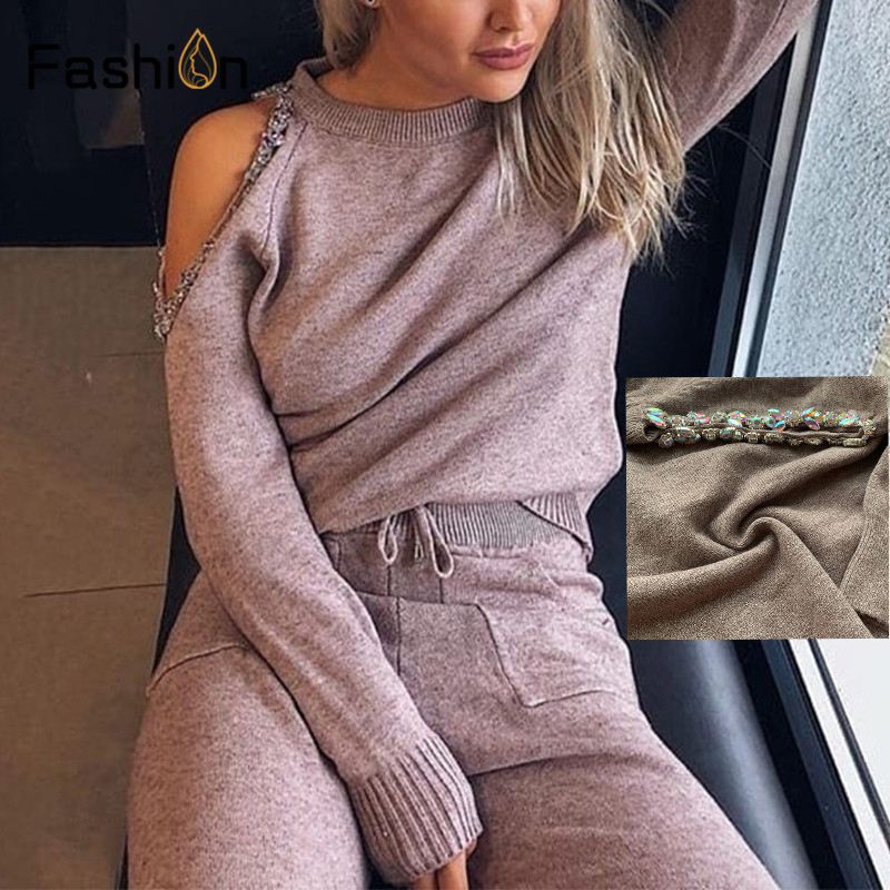 Women Sweater Suit and Sets Fashion Casual 2PCS Track Suit Diamond Shoulder Knitted Trousers+Jumper Tops Costume Clothing Set
