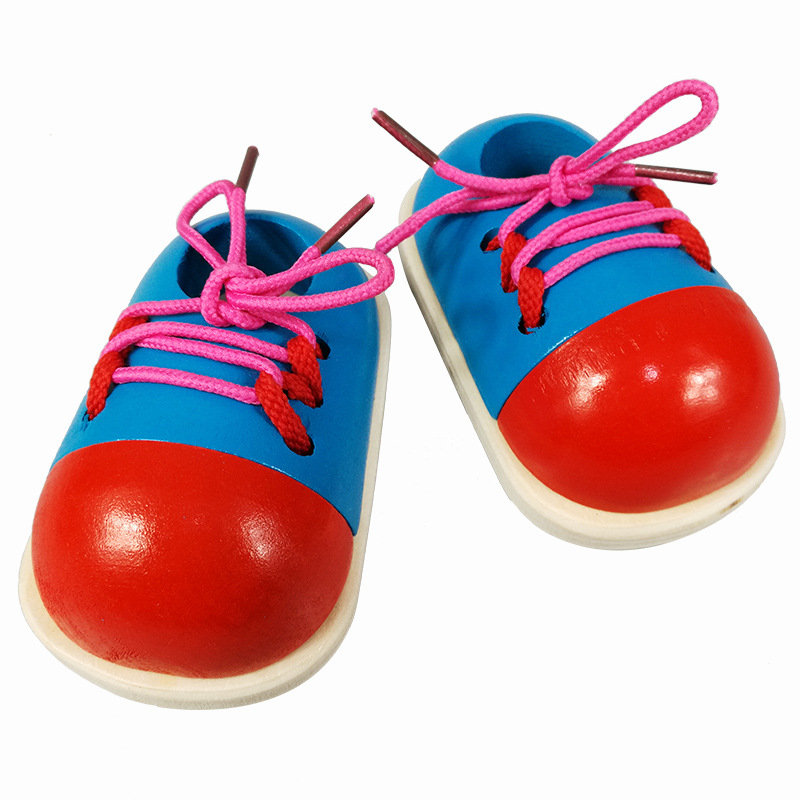 2Pcs Kids Montessori Educational Wooden Toys Tie Shoes Lace Up Shoes Toys Toddler Lacing Shoes Early Educational Learning Toys
