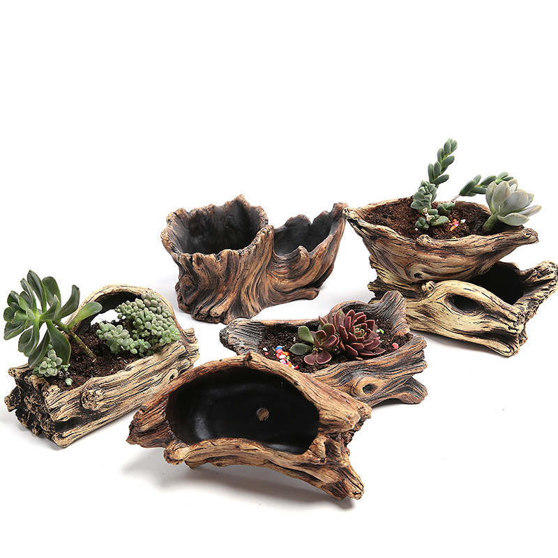 Creative Root Shape Carved Flowerpots For Succulents Fleshy Plants Clay Coarse Pottery Mini Pottery Best Gift Flower Pot