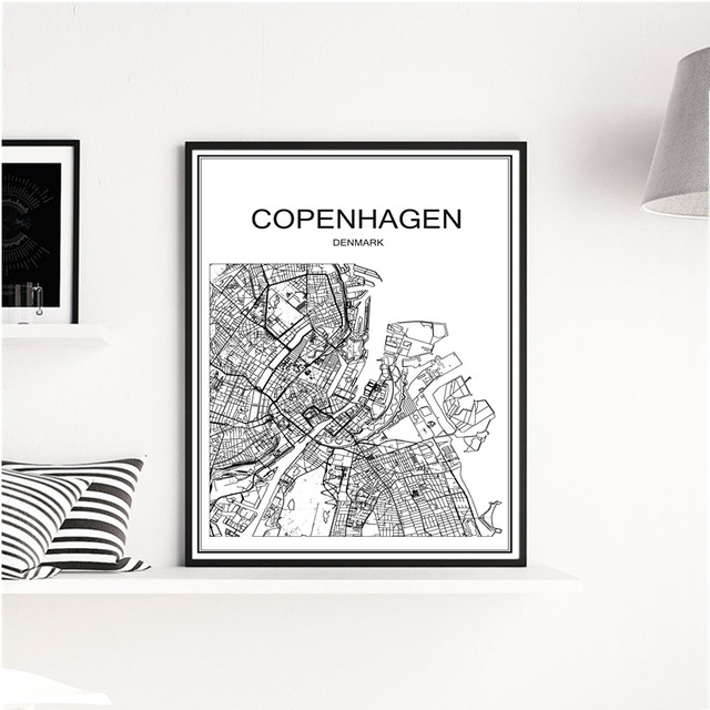 Retro COPENHAGEN City White Map Kraft Paper Vintage Poster Living Room Wall Art Crafts Sticker