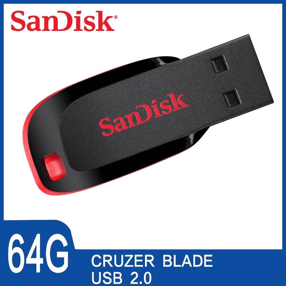 100 Original SanDisk Cruzer Blade CZ50 USB Flash font b Drive b font 128GB 64GB 32G