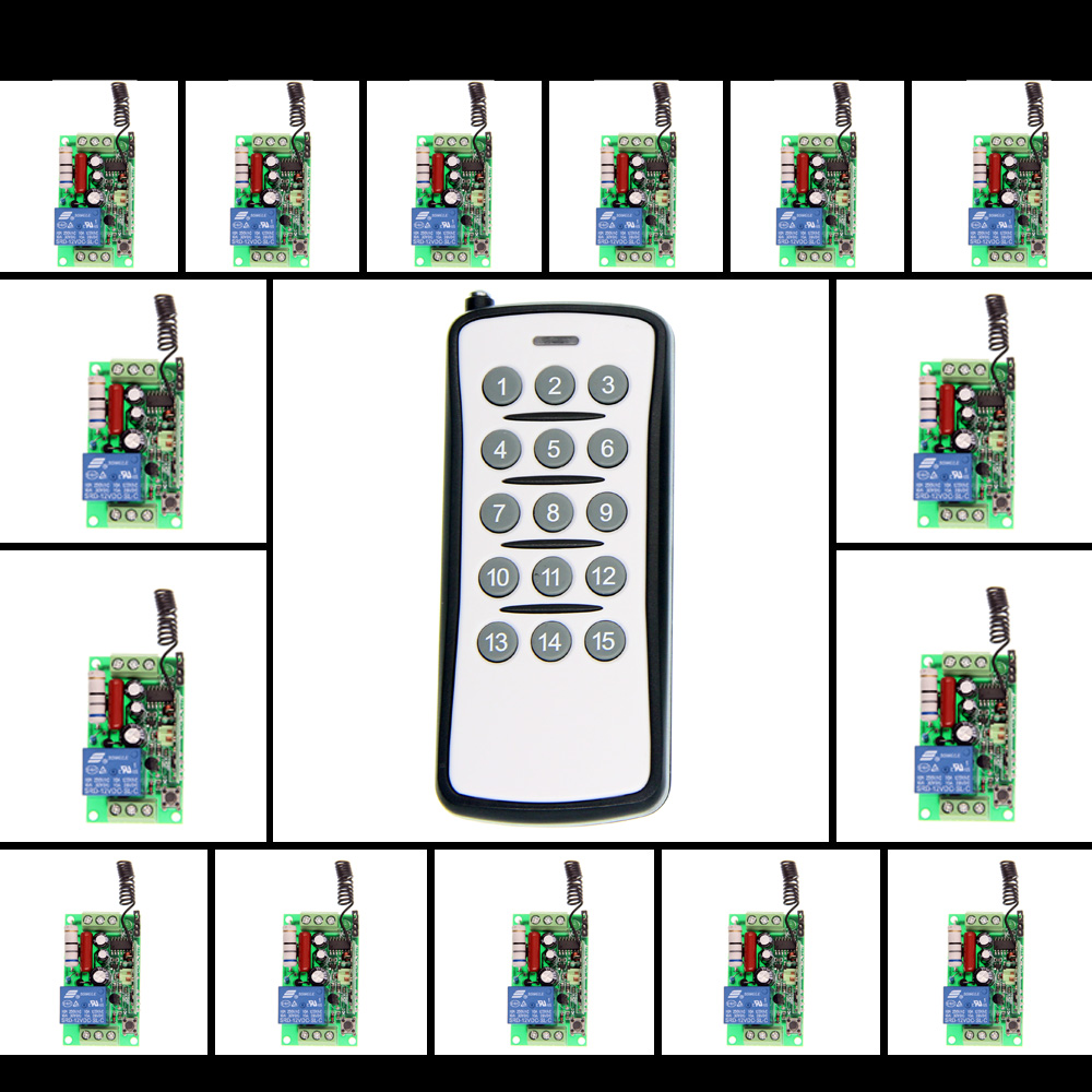 AC 220V 110V 1 CH 1CH RF Wireless Remote Control Switch System,15CH Transmitter + 15 X Receivers,Toggle/Momentary,315/433.92 2 receivers 60 buzzers wireless restaurant buzzer caller table call calling button waiter pager system