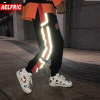 AELFRIC 3M Reflective Letter Print Mens Joggers Pants 2018 Autumn Winter Cotton Black Sweatpants Punk Harajuku Streetwear KJ131