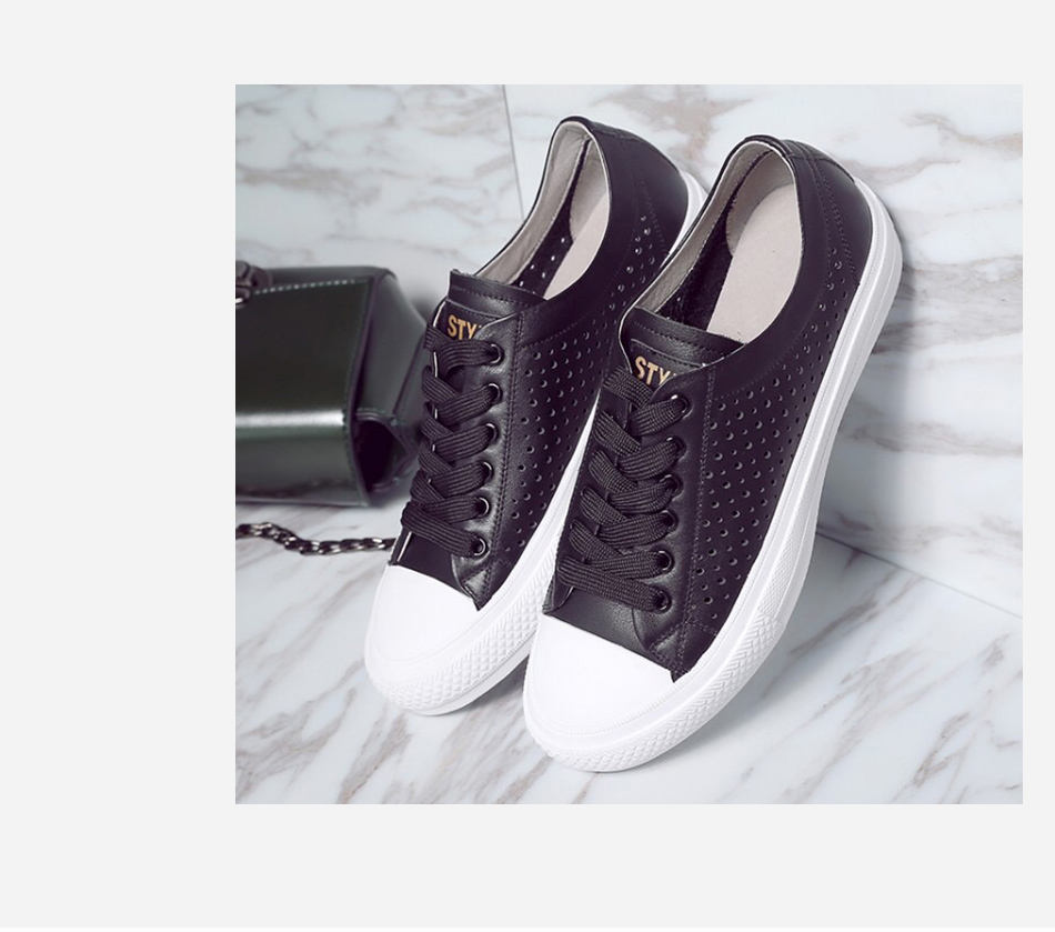 Donna-in 2019 New Women Flats Sneakers Genuine Leather Shoes Lace-up Cut-outs Flat Casual Women Shoes Hollow Summer Black White (18)