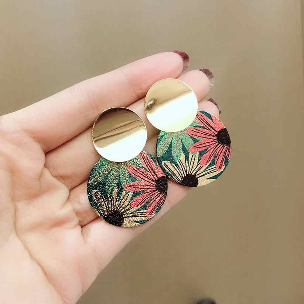 Vintage fashion elegant  Flower Print Dual Round Pendant Women Stud Earrings Party Jewelry Gift