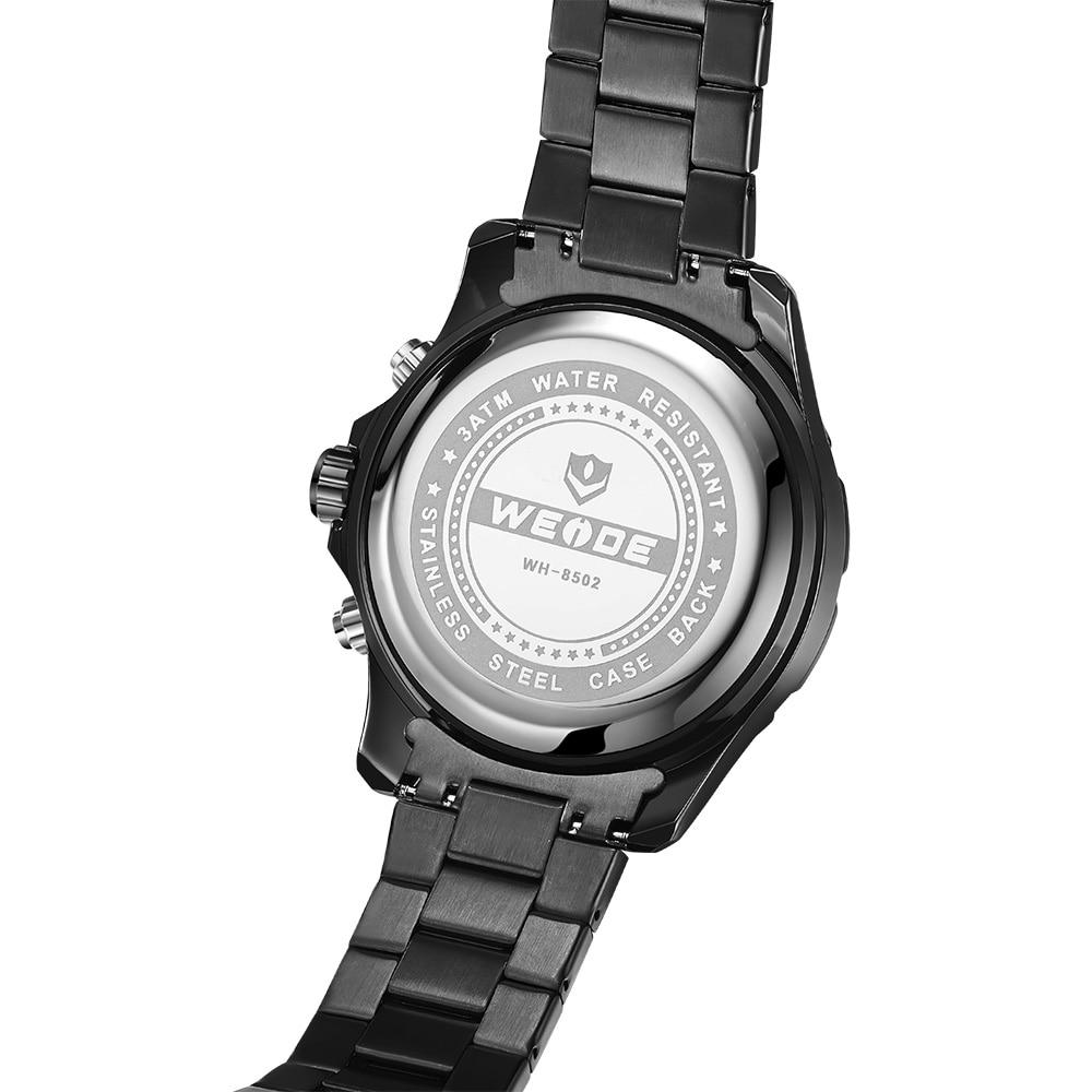 WEIDE Top Luxury Brand Quartz Watches Men LED Digital Clock Man Sports Military Stainless Steel Wrist Watch Relogio masculino 8