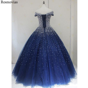 Image 5 - Navy Blue Ball Gown Quinceanera Dresses 2020 Off Shoulder Lace up Back Major Beading Princess Puffy Prom Party Dresses