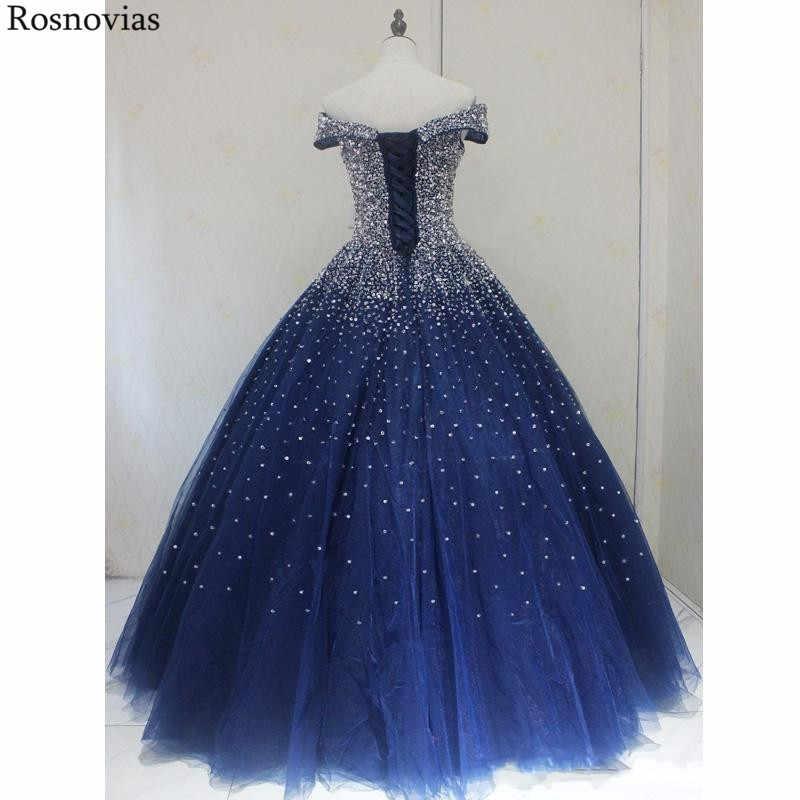 紺夜会服 Quinceanera のドレス 2020 オフショルダー主要なビーズプリンセスパフィーウエディングパーティードレス