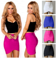 Women Lady Girl Sexy Woman Pencil Skirts Rayon Elastic Summer Style Women Red Arched Micro Mini