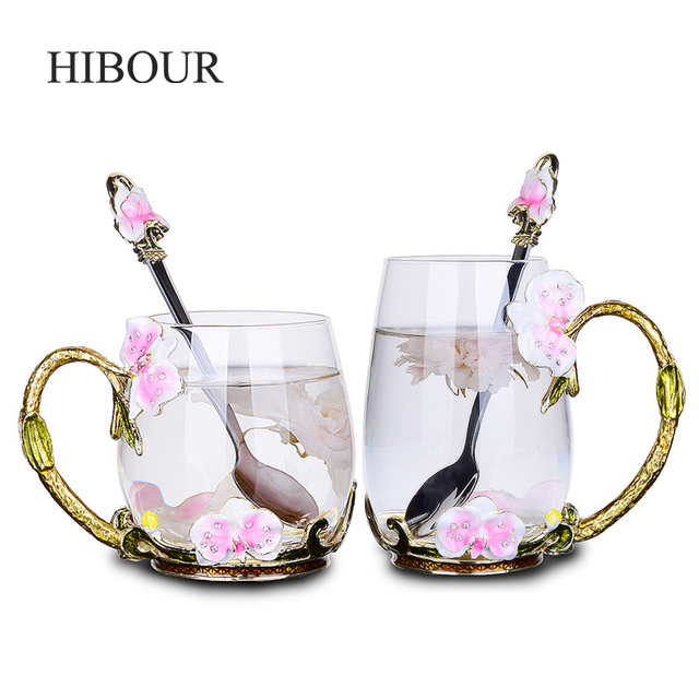 9ab23a632de HIBOUR Enamel Coffee Mugs Set Crafted Vintage Glass Tea Flower Cup for  Wedding with Enamel Spoon Transparent Milk Mug Cups Set-in Mugs from Home &  ...