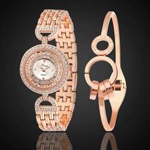 New! 2016 Scorching Gross sales Style Jewellery Czech Stones Slim Band Quartz Wrist Watch + Spherical Ring Bracelet