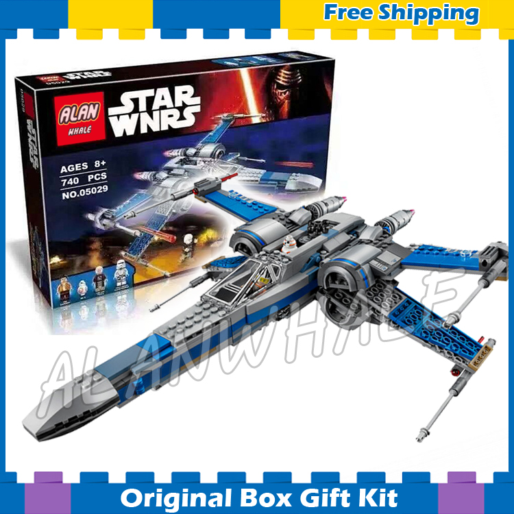 740pcs Star Wars universe New 05029 Resistance X-Wing Fighter DIY Model Building Blocks Kits Toy Compatible with Lego universe ru bun lock children puzzle toy building blocks