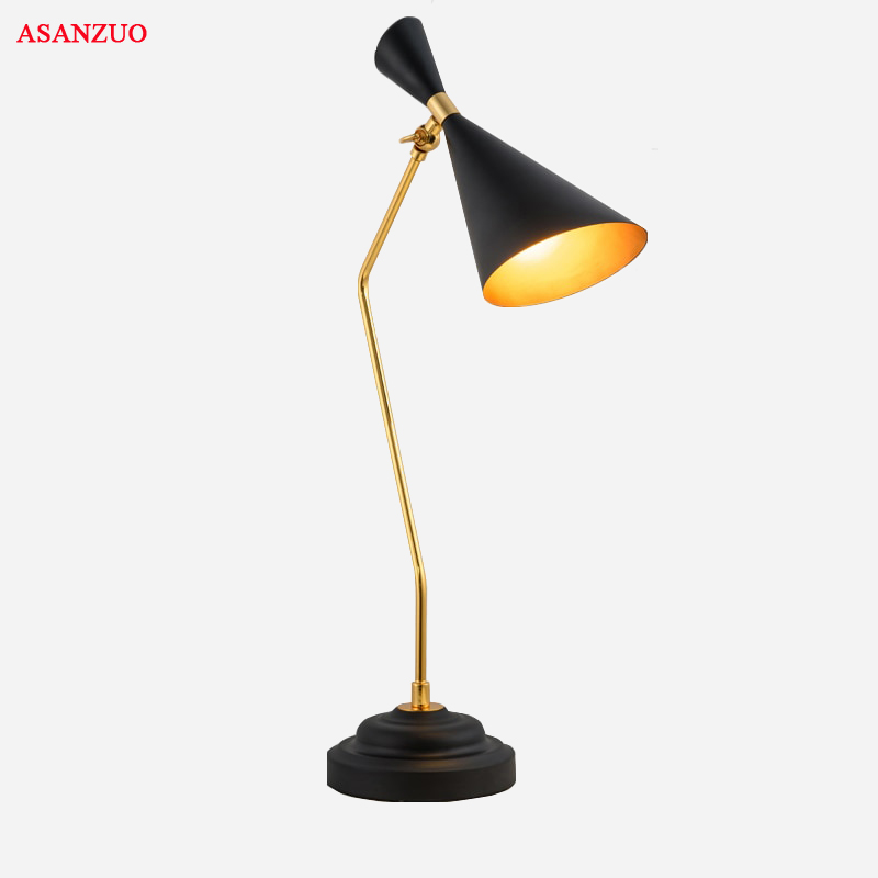 Lights & Lighting Led Table Lamps Modern Doubl Speaker Table Lamp Black Classic Table Lamp Study Office Table Lamps Iron Personality Decoration Lighting Fixtures