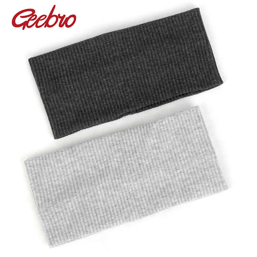 Geebro Women Ribbed Wide Headband Striped Elastic Hairband For Female Girls Accessories Flat Cotton Bands Fashion Turban AQ003