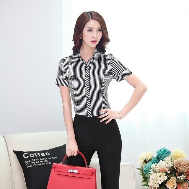6cdd299e6ca2 New Arrvial 2015 Summer Shirts Women Work Blouse Short Sleeve Formal Ladies  Office Uniform Shirts Striped OL Slim Elegant
