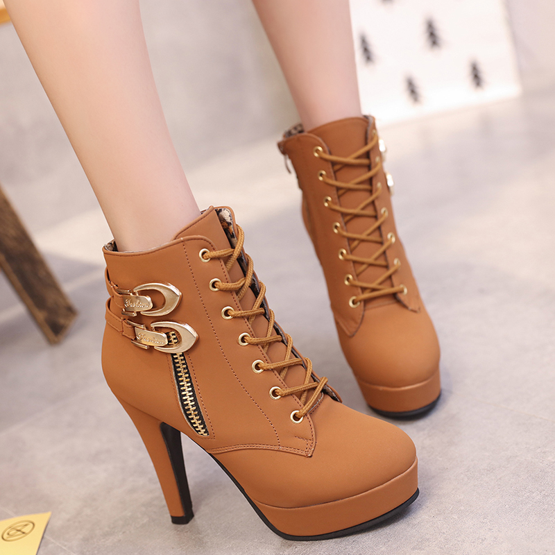 Image 5 - Plus Size Ankle Boots Women Platform High Heels Female Lace Up Shoes Woman Buckle Short Boot Casual Ladies Footwear Drop Ship-in Ankle Boots from Shoes
