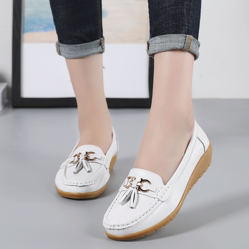 Casual Women Shoes Genuine Leather Flat Ladies Shoes Casual Slip On Flat Shoes Women Loafers Casual Big Size 2019 New