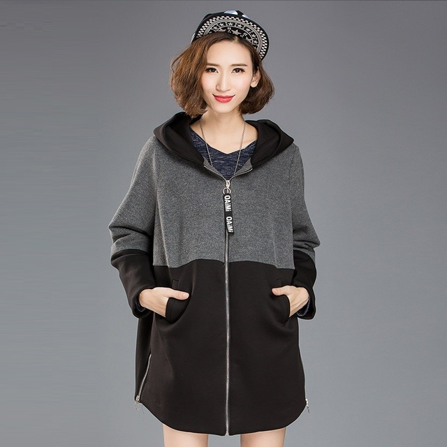 New2016Autumn mulheres inverno cor contraste com capuz trench coat lados zipper casual blusa tops outwear plus size roupa XXXXXL8186