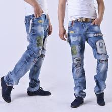 2016 New Arrival Straight Casual Jeans Homme High Quality Men's Solid Cotton Loose Printed Ripped Jeans Slim Fit Denim Trousers
