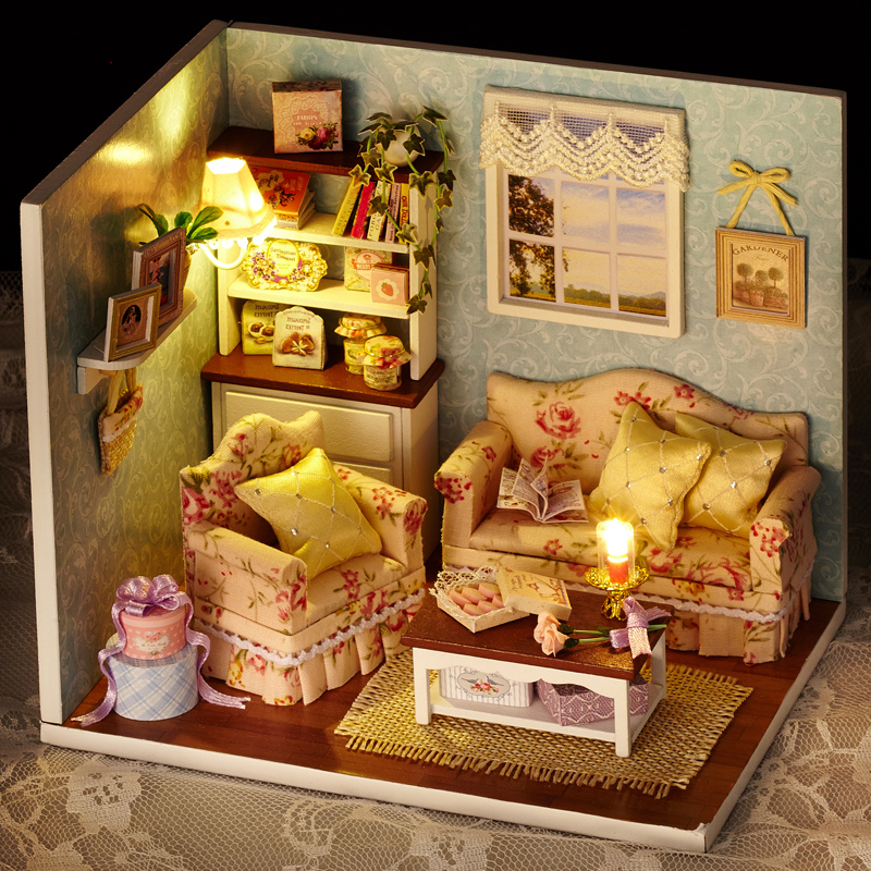 Diy Furniture Room Mini Box Dollhouse Doll House Miniature: DIY Handmade Wooden Miniature Girl Doll House Room Box Toy