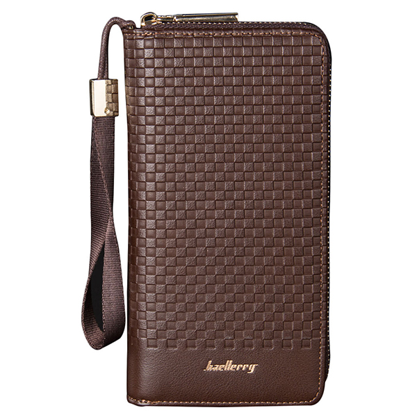 PU leather mens long section leisure large capacity pattern pattern zipper wallet hand bag holding bag