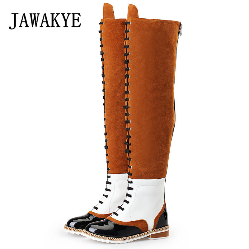 2019 Genuine Leather Suede Flat knee high Boots Women Mixed color Cross tied Back Zipper Casual Shoes Retro Long Boots For women2019 Genuine Leather Suede Flat knee high Boots Women Mixed color Cross tied Back Zipper Casual Shoes Retro Long Boots For women