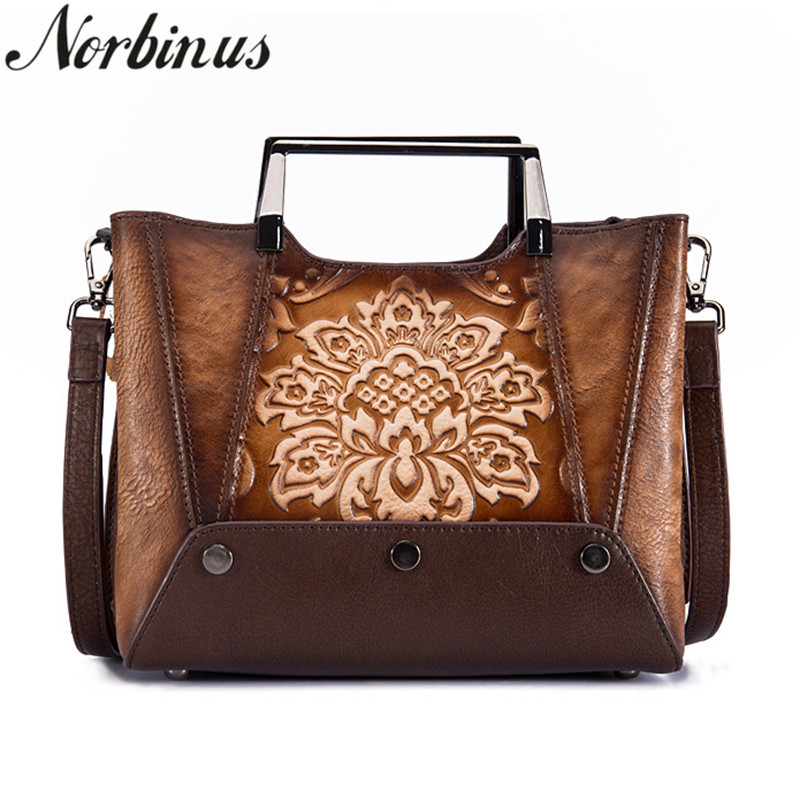 Norbinus Genuine Leather Top Handle Bags Vintage Women Messenger Shoulder Bag National Style Tote Handbag Embossed Crossbody Bag vintage style women s genuine leather handbag tote top cowhide shoulder bag clutch evening bag braided handle