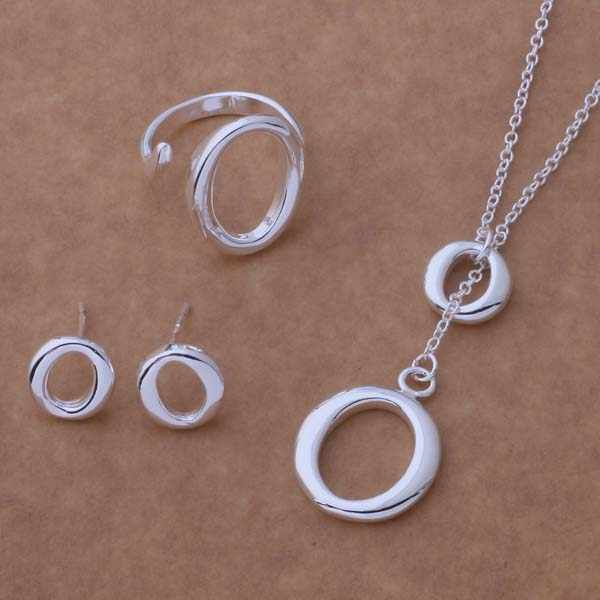 AS099 Lucky Silver Color 925 Jewelry Sets For Women Earring 191 + Necklace 601 + Ring 249 /bgpajxwa Aepaivwa