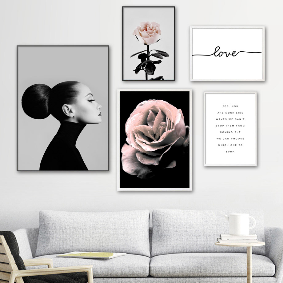 Rose Flower Woman Love Fashion Salon Nordic Posters And Prints Wall Art Canvas Painting Wall Pictures For Living Room Home Decor