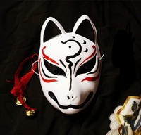 Hand Painted Full Face Japanese Fox PVC Kitsune Black Cat Teacher Cosplay Decorative Mask Collection Party Halloween