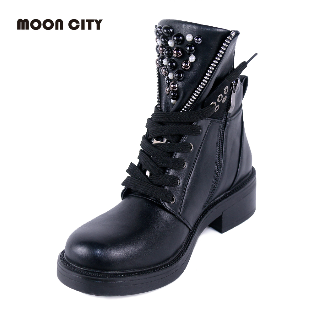 Image 5 - 2019 women Fall boots flat leather boots women's pearl round head short boots for women Martin boots wedge motorcycle boots-in Ankle Boots from Shoes