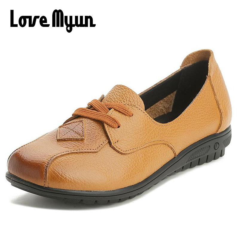 Size35-43 Leather shoes Spring Women flats Handmade Mother shoes Lace-Up Nurse Work shoes Fashion Soft Bottom Casual Shoes SB-79 designer women flats amry green genuine leather lace up grey flats fashion handmade casual leather shoes soft bottom comfortable