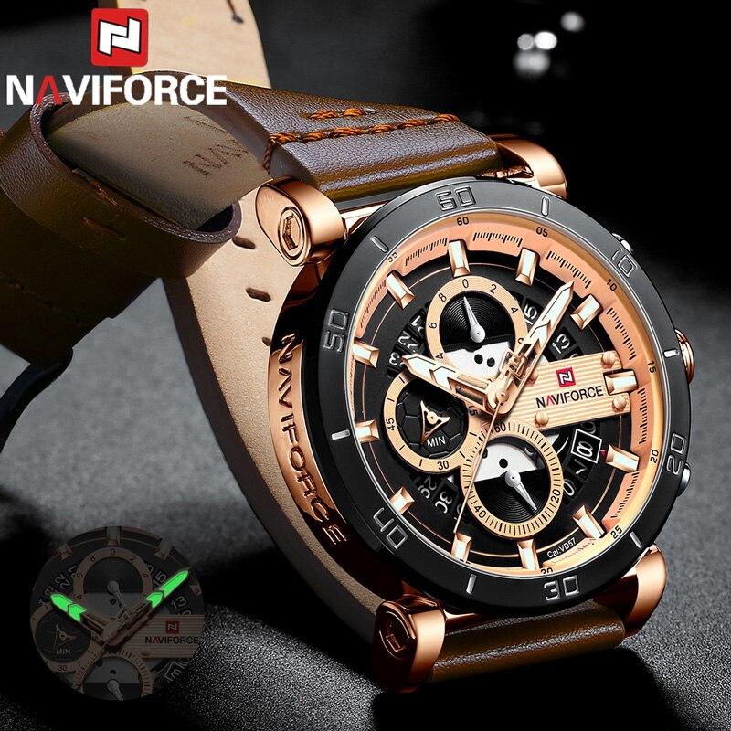 Relogio Masculino NAVIFORCE Männer Uhr Top Marke Luxus Sport Chronograph Militär Armee Armbanduhr Leder Quarz Männlichen Uhr 9131-in Quarz-Uhren aus Uhren bei  Gruppe 1