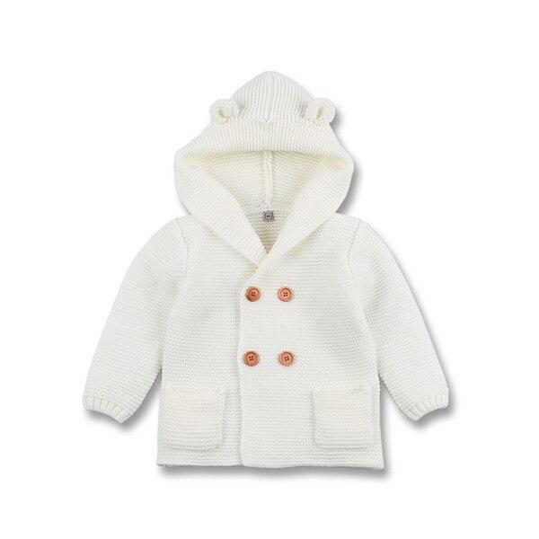 Winter Warm Newborn Baby Sweater Fur Hood Detachable Grey Infant Boys Girl Knitted Cardigan Fall Outwear Children Knitwear SW11 (9)
