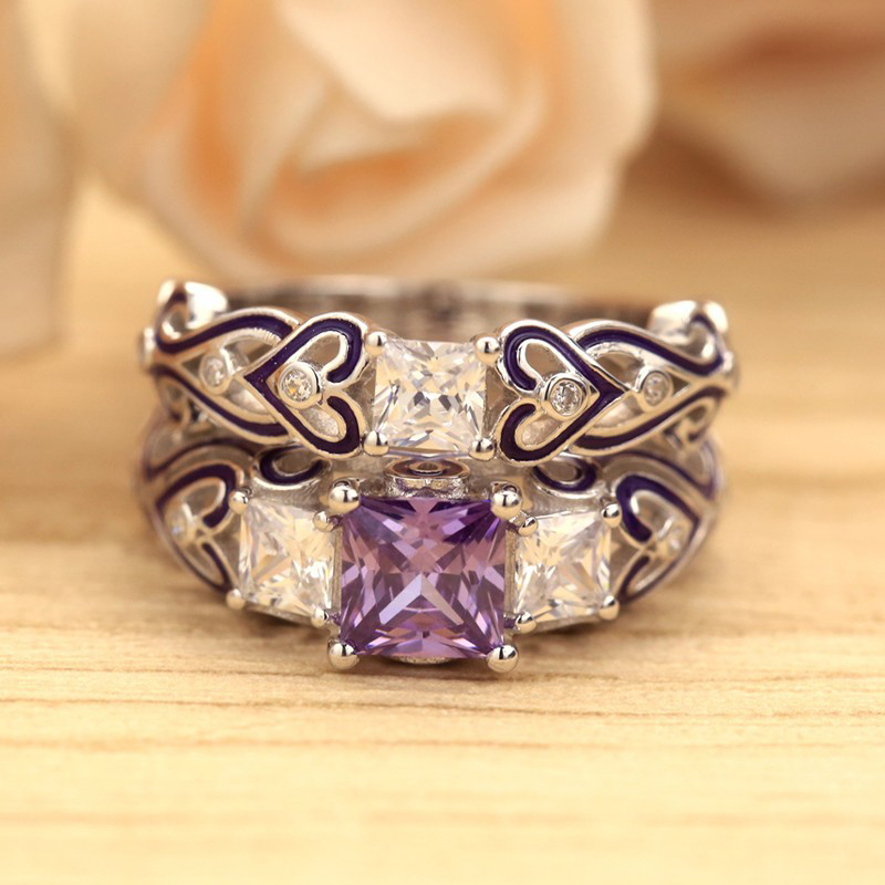 GS Jewelry Promise Engagement Double Rings For Women Ladies Rose Gold Color Pairs Purple Crystal Wedding Ring Set Y3