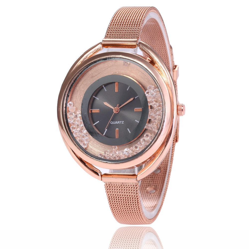 Women Luxury Rolling Ball Watches 2018 Fashion Rose Gold Oval Dial Quartz Watch Analog Ladies Casual Dress Wristwatch Relogio in Women 39 s Watches from Watches