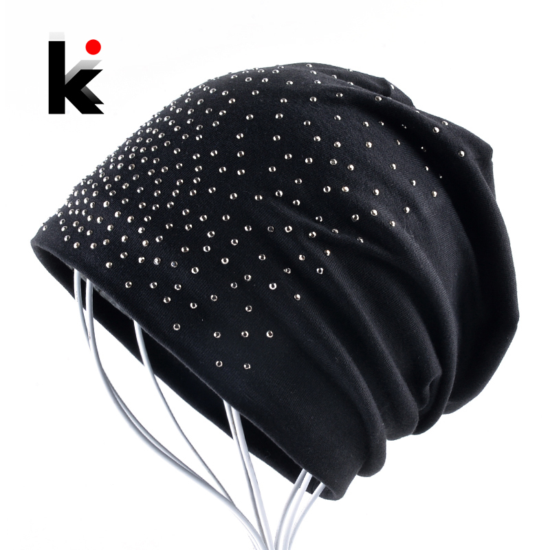 2018 New Fashion Rhinestone   Beanie   Hats For Women Solid Color   Skullies     Beanies   Female Casual Cotton Bonnet Caps Ladies Gorras