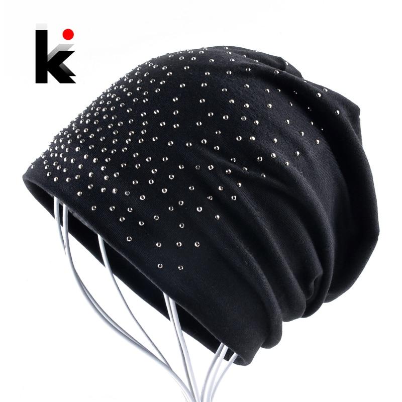 Fashion Skullie Rhinestone   Beanie   Hats For Women Solid Color   Skullies     Beanies   Female Casual Cotton Bonnet Caps Ladies Gorras