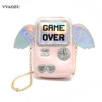 Harajuku Women Mini Messenger Bag 3D Game Machine Style Game Over Printing Girls PU Chain Shoulder