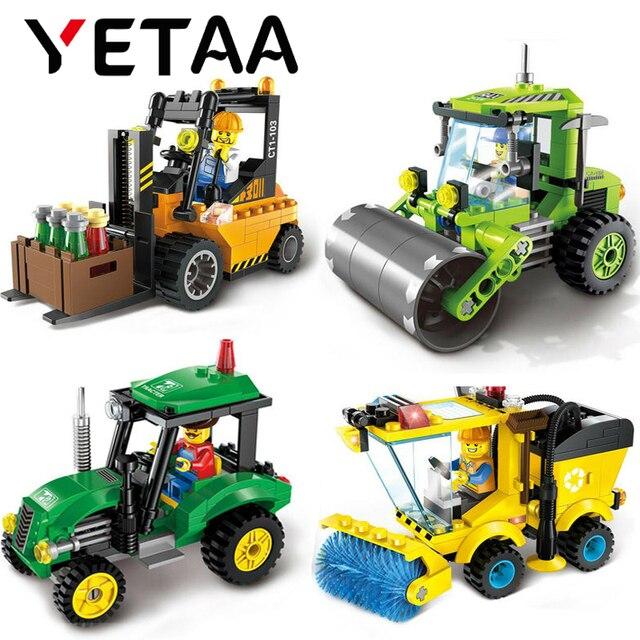 YETAA Vassoura Trator Empilhadeira Rolo de Estrada Blocos Educacionais Blocos de Construção do Modelo Operário Minecraft Presente DIY Brinquedos Para As Crianças
