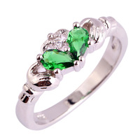 Claddagh Style Women Rings Water Drop Jewelry Emerald Quartz 925 Silver Ring Size 6 7 8 9 10 11 12 Free Shipping Wholesale